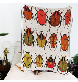 Beetle Party Knit Throw Blanket