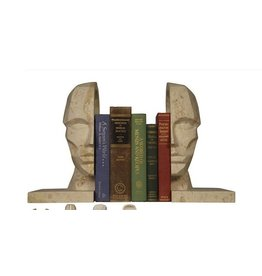 Face Bookend - set of two - white marble