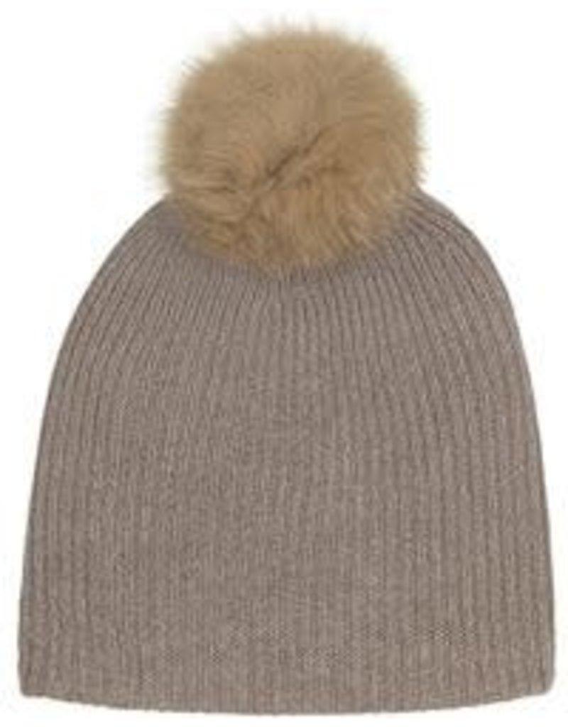 Cashmere Fur Pom Pom Rib Beanie   Mocha