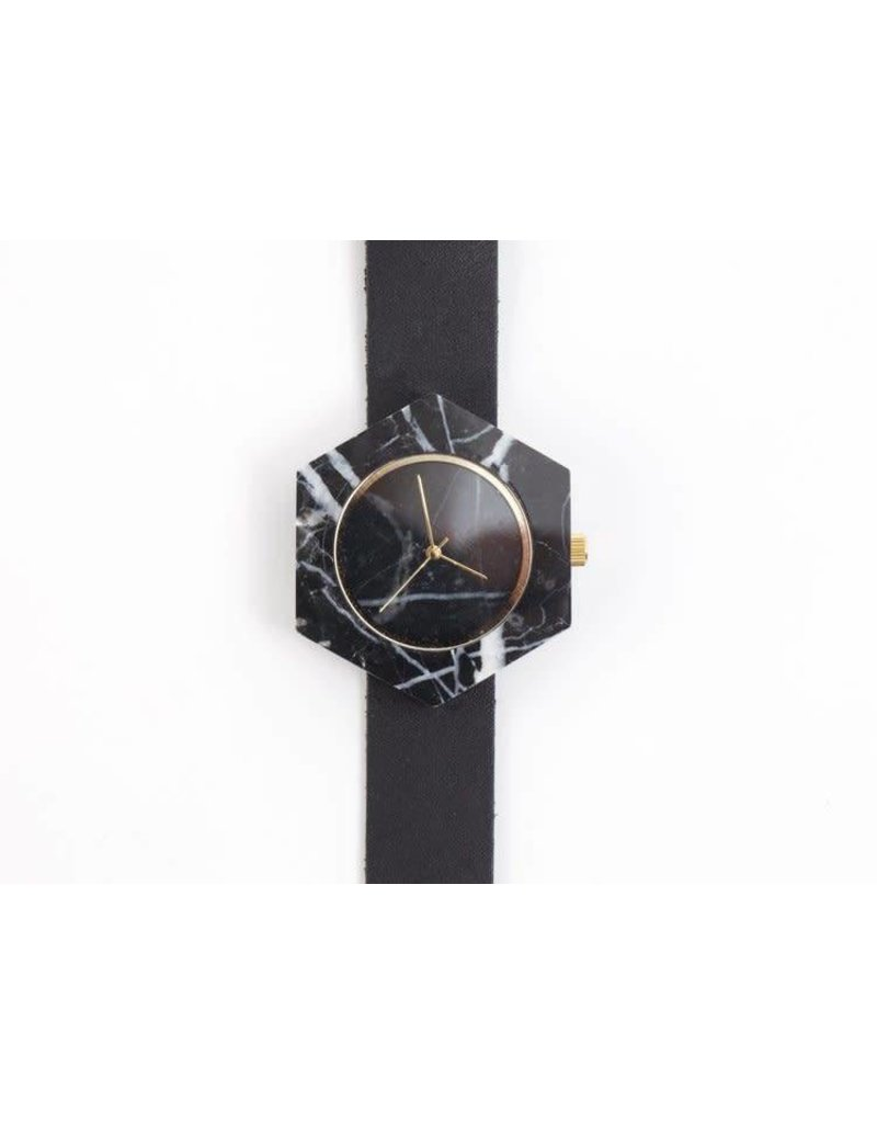Marble Hex Mason Watch   Black, Black