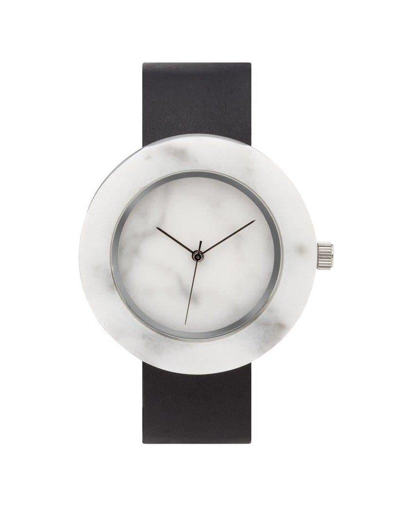 Marble Circle Mason Watch | White, Black