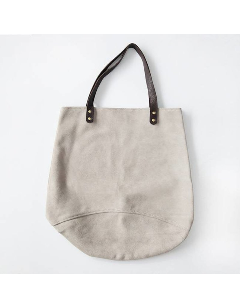 Suede Feed Bag, Light Grey