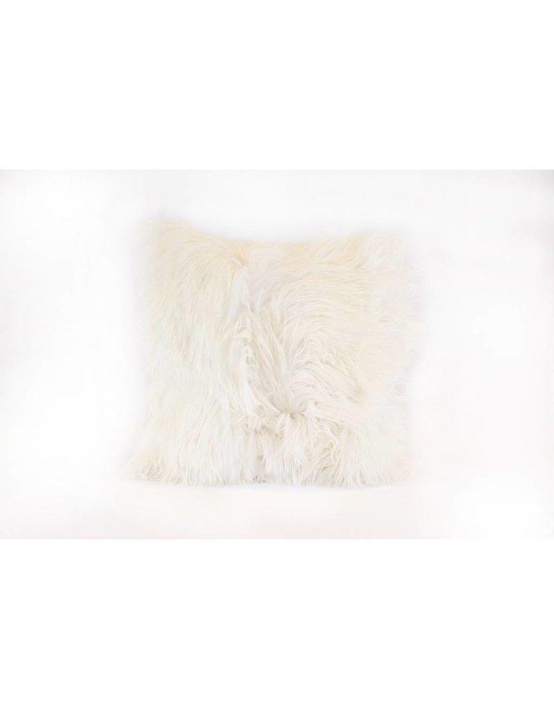 Suri Alpaca Shag Pillow | White