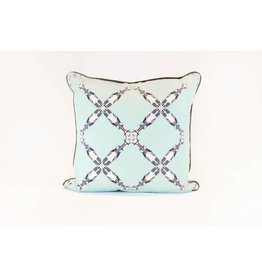 Cattle Pattern Pillow | Blue + Teal