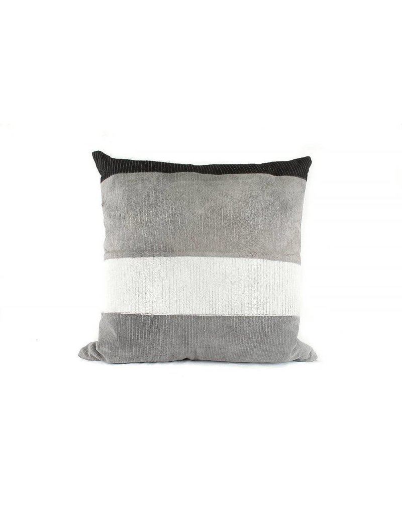 Plumage Pillow | Gray + Black Suede