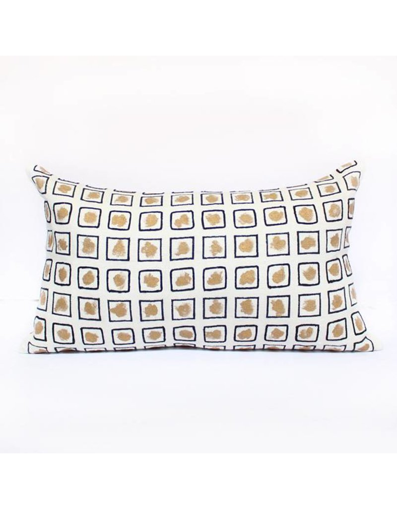 Stencil Pillow | Gold + White