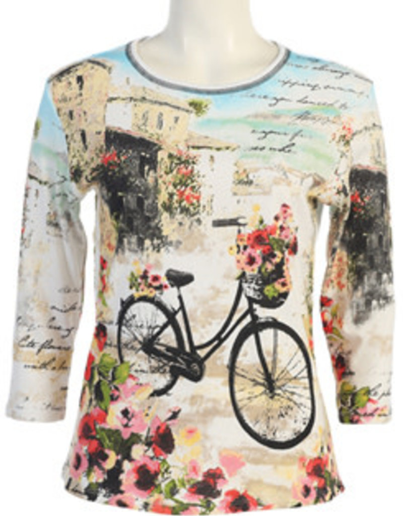 Jess And Jane Floral Bicycle Top The White Orchid