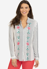 Tribal Embroidered Shirt with Contrast Back