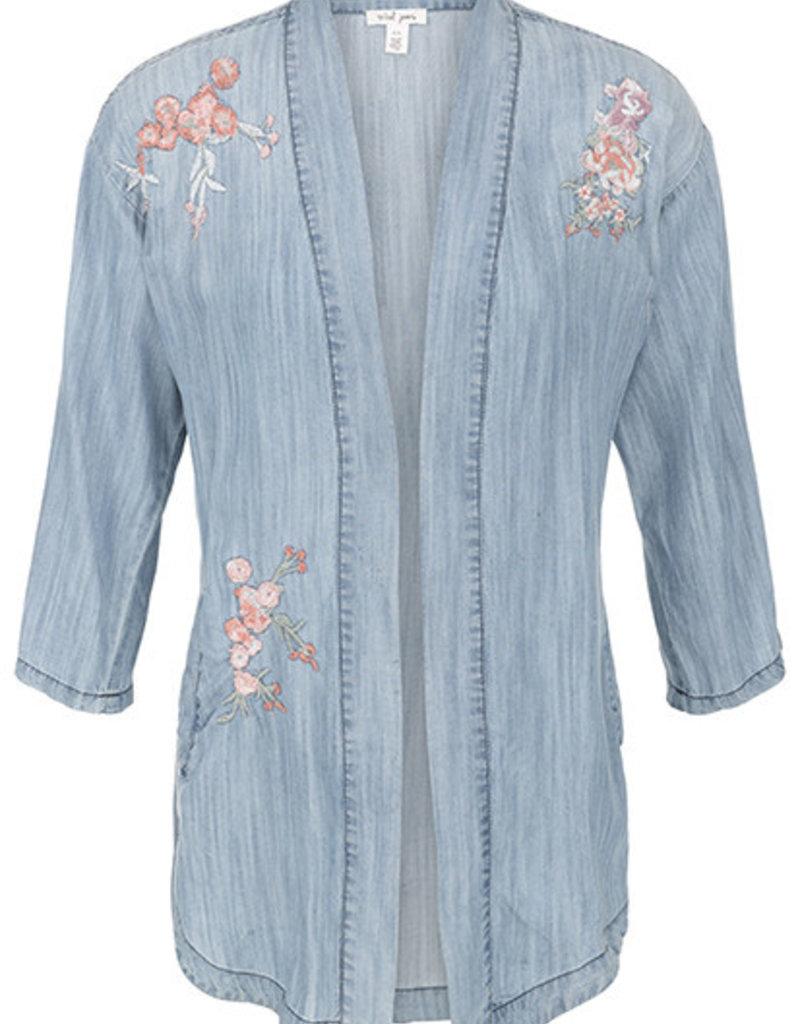 Tribal Embroidered Chambray Kimono
