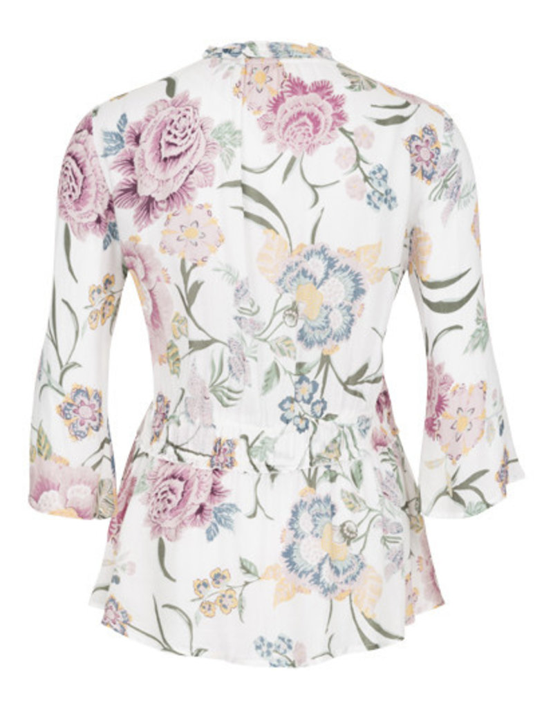 Tribal Floral Shirred Blouse