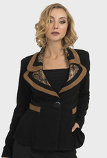 Joseph Ribkoff Suede Trim Animal Jacket