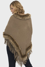 Joseph Ribkoff Fur Trim Fringe Cape