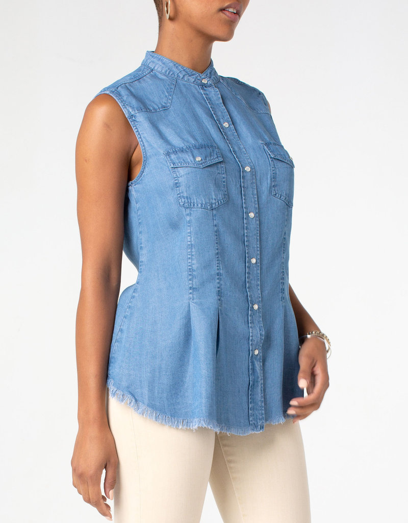 Liverpool Flap Patch Pocket Western Sleeveless Top