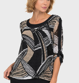 Joseph Ribkoff Cut Out Geometric Top
