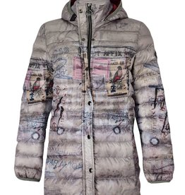 Dolcezza Vintage Stamp Long Puffy Coat