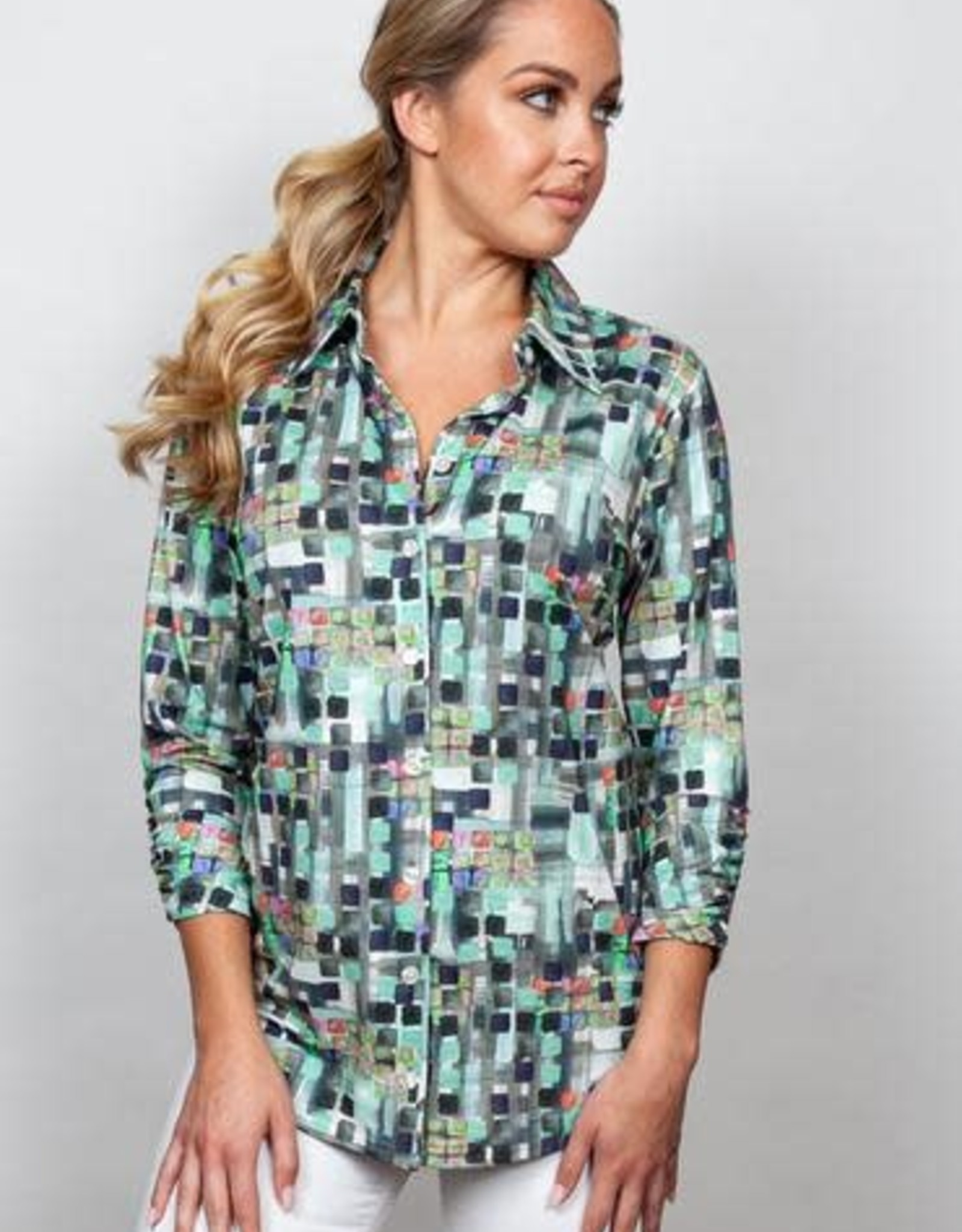 Snoskins Mosaic Button Down Top