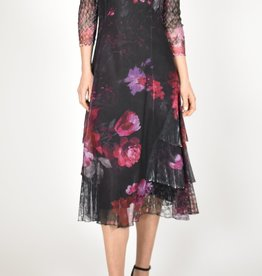 Komarov Rose Bouquet Tiered Dress