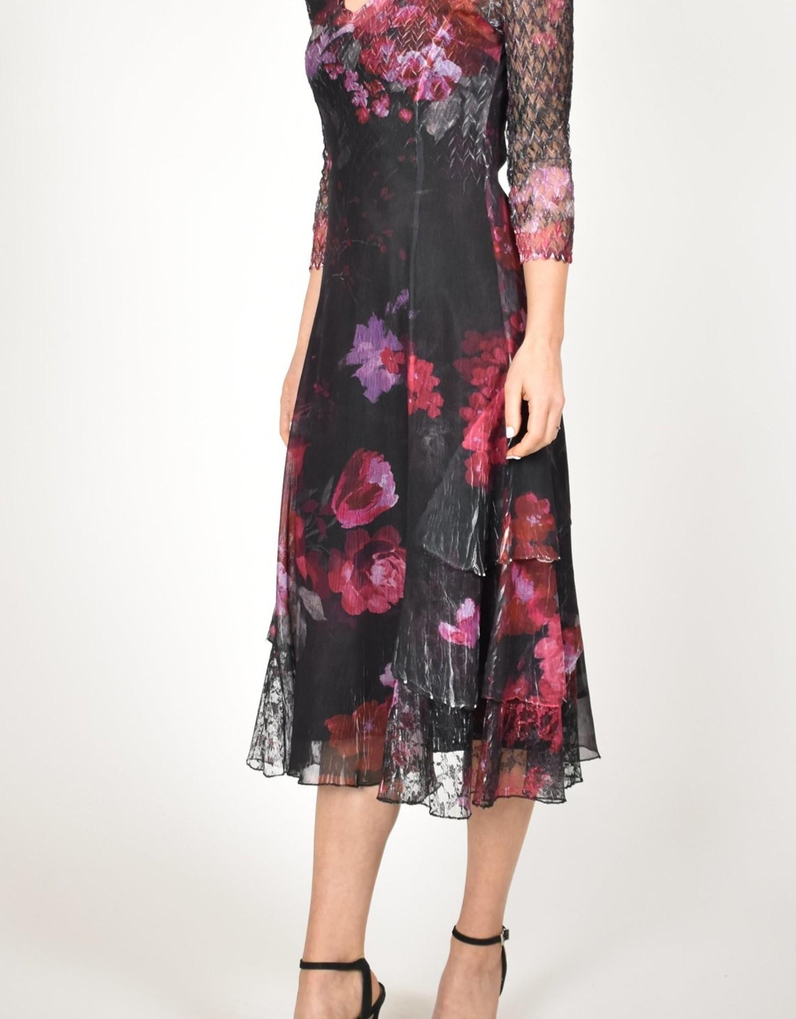 Komarov Rose Bouquet Tiered Dress
