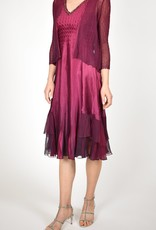 Komarov Red Plum Ombre Dress with Jacket