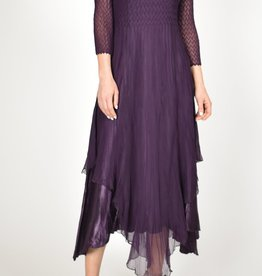 Komarov Aubergine Jewel Neck Dress