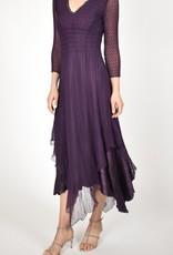Komarov Aubergine Jewel Neck Dress