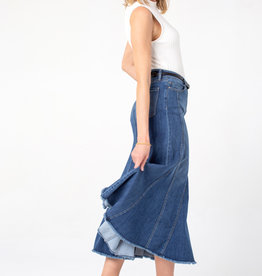 Liverpool Multi Panel Long Denim Skirt