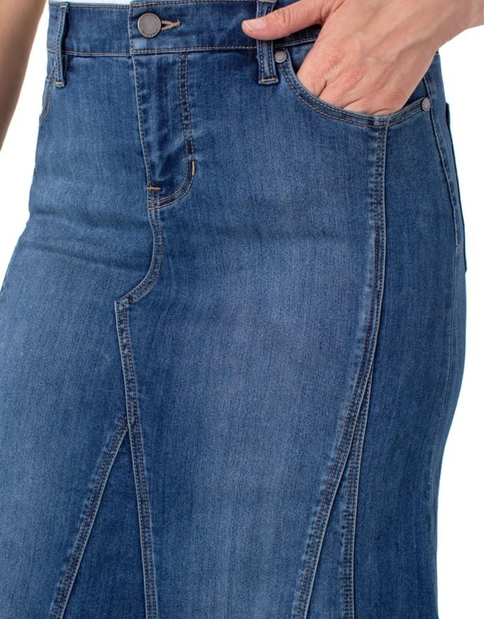 Liverpool Multi Panel Long Denim Skirt