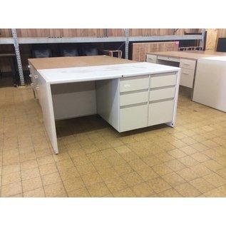 "30x60x30"" Right Double Pedestal White Metal Desk (9/20/18)"