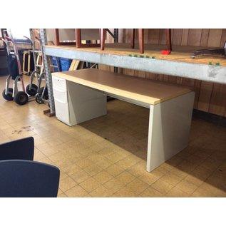 "30x72x29"" White Metal Left Pedestal Desk (11/7/18)"