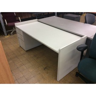 """30x70x30"""" White metal L/pedestal desk (11/7/18)"""