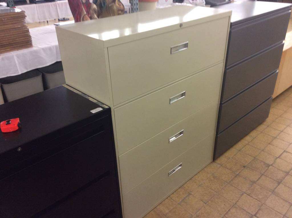 Beige 4 Drawer Lateral File Cabinet 10