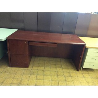 """29 1/2x66x29"""" Cherry wood Desk with left ped. (2/7/19)"""