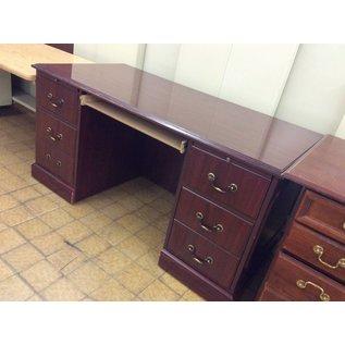 "30x59x29 1/2"" cherry wood Desk dbl ped. (11/13/18)"