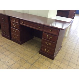 "30x60x30"" cherry wood Desk dbl. ped. (11/13/18)"