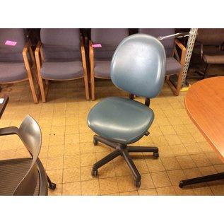 Blue vinyl padded desk chair on castors (11/14/18)