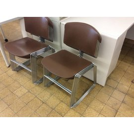 Brown plastic metal frame stacking chair (11/14/18)