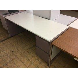 "30x70x30"" Mauve metal R/Pedestal desk 10/31/19"