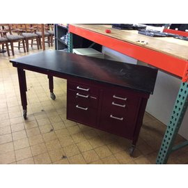 """30x61x31"""" maroon metal work table with epoxy top & 6drawers on castors (12/10/18)"""