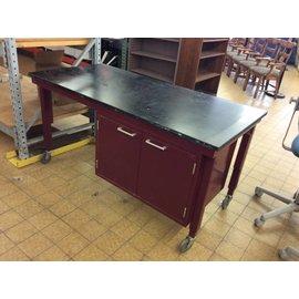 """30x61x30 3/4"""" maroon metal work table with 2doors epoxy top on castors (12/10/18)"""