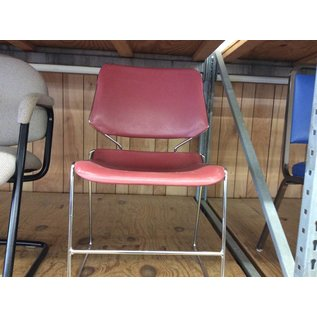 Red plastic chair with metal frame (12/18/18)