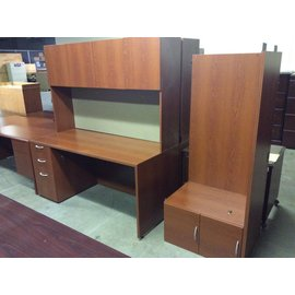 66x94x72 Cherry wood L-Shaped desk w/hutch 12/20/18
