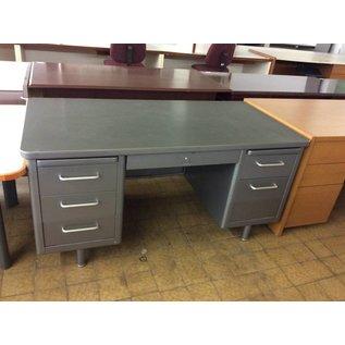 "30x69"" grey metal Steelcase Desk dbl. ped. (1/2/19)"
