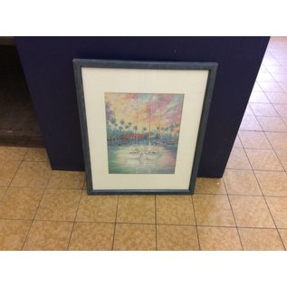 """17 1/4x24 1/2"""" matted print in blue frame (1/14/19)"""