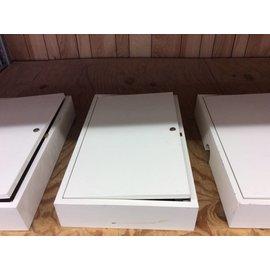 "4 1/2x16x26"" White wood wall mount box w/door (1/16/19)"