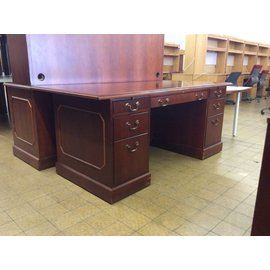 "36x72x30"" Cherry wood dbl ped desk 12/20/18"