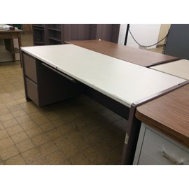 "30x70x30"" mauve Metal Desk with left ped. (3/18/19)"