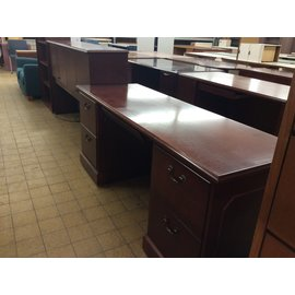 """24x71x30 1/2"""" cherry wood dbl ped credenza with 42"""" Hutch (3/18/19)"""