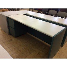 "25x70x30"" green metal left ped. Desk (4/8/19)"