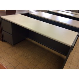 """25x70x30"""" grey metal Desk with left ped. (4/8/19)"""