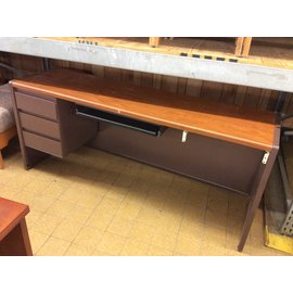 "20x70x30"" Brown metal left ped Credenza with pull out for keyboard (4/15/19)"